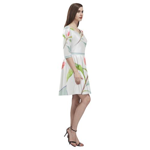 3 colors leaves in frame red blue green. Floral Tethys Half-Sleeve Skater Dress(Model D20)