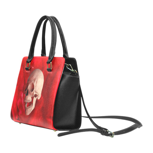 Funny Skull and Red Rose Rivet Shoulder Handbag (Model 1645)