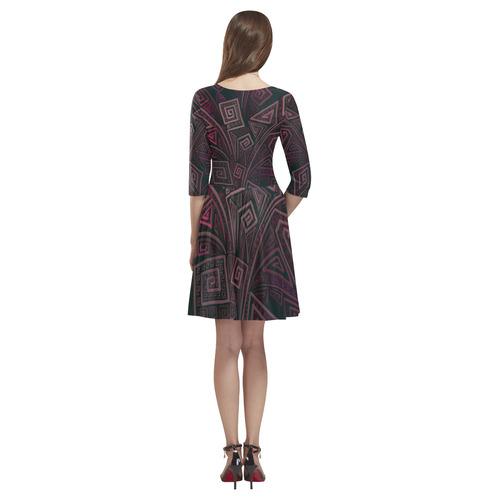 Psychedelic 3D Square Spirals - pink and orange Tethys Half-Sleeve Skater Dress(Model D20)