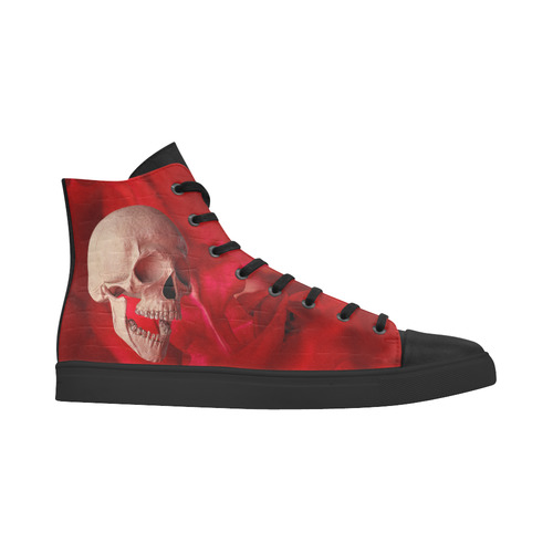 Funny Skull and Red Rose Andromeda High Top Action Leather Women's Shoes (Model 305)