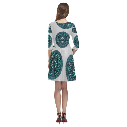 Faux Stitch, Turquoise Flower Fur Tethys Half-Sleeve Skater Dress(Model D20)