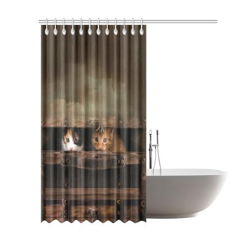 "Little cute kitten in an old wooden case Shower Curtain 69""x84"""