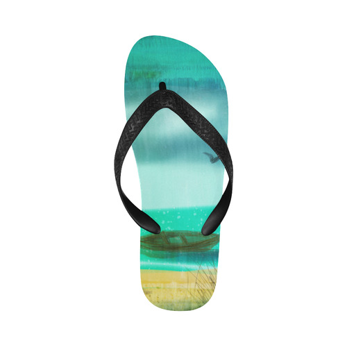 boy by the sea with dog summer time boat ocean water beach slippers Flip Flops for Men/Women (Model 040)