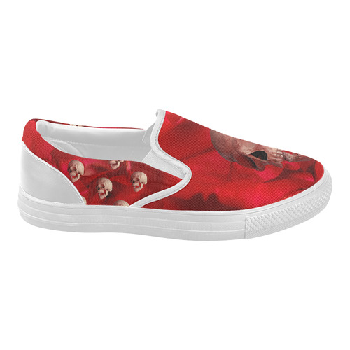 Funny Skull and Red Rose Women's Slip-on Canvas Shoes (Model 019)