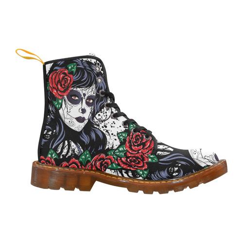 rose skull women Martin Boots For Women Model 1203H