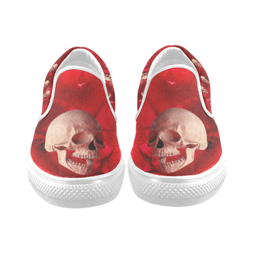 Funny Skull and Rose Women's Slip-on Canvas Shoes (Model 019)