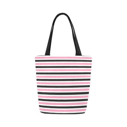 0018d6e1a Pink Black Stripes Canvas Tote Bag (Model 1657) | ID: D1410332
