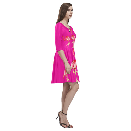 flamingo in pink Tethys Half-Sleeve Skater Dress(Model D20)