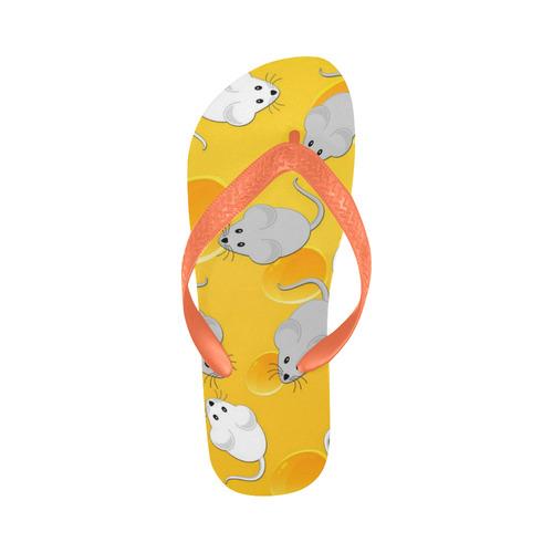 mice on cheese Flip Flops for Men/Women (Model 040)