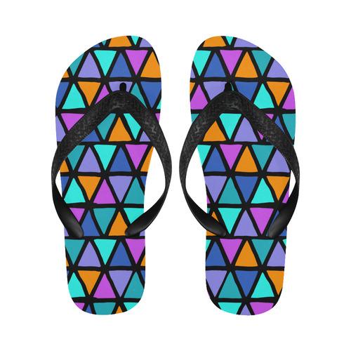 Modern colored TRINAGLES / PYRAMIDS pattern Flip Flops for Men/Women (Model 040)