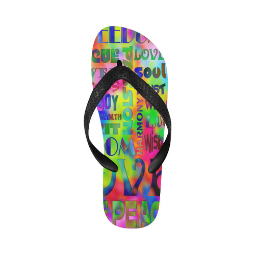 Flower Power - WORDS OF THE SPIRIT WAY Flip Flops for Men/Women (Model 040)