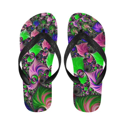 awesome fractal 33A Flip Flops for Men/Women (Model 040)