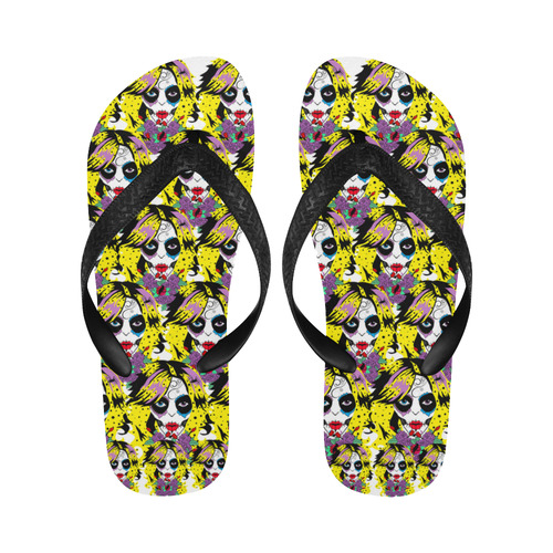 gothic sugar skull Flip Flops for Men/Women (Model 040)
