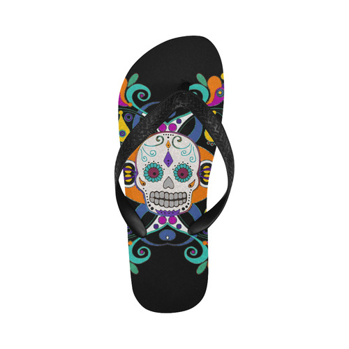Día De Los Muertos Skull Ornaments Flip Flops for Men/Women (Model 040)
