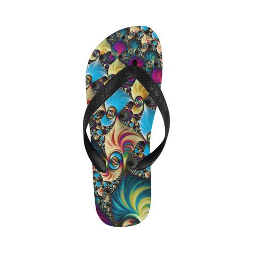 awesome fractal 33D Flip Flops for Men/Women (Model 040)