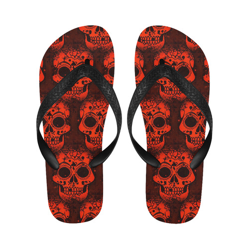 new skull allover pattern 05B by JamColors Flip Flops for Men/Women (Model 040)