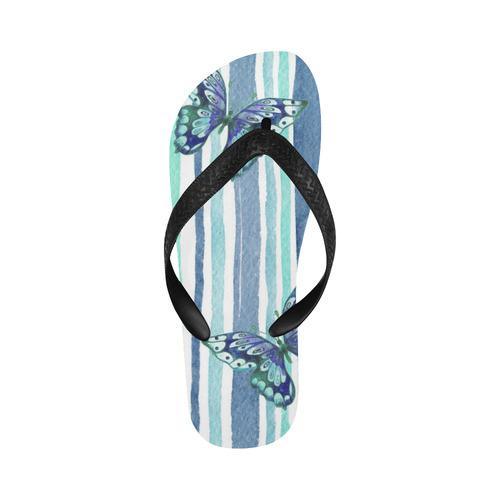 Watercolor Butterflies & Stripes Blue Cyan Flip Flops for Men/Women (Model 040)