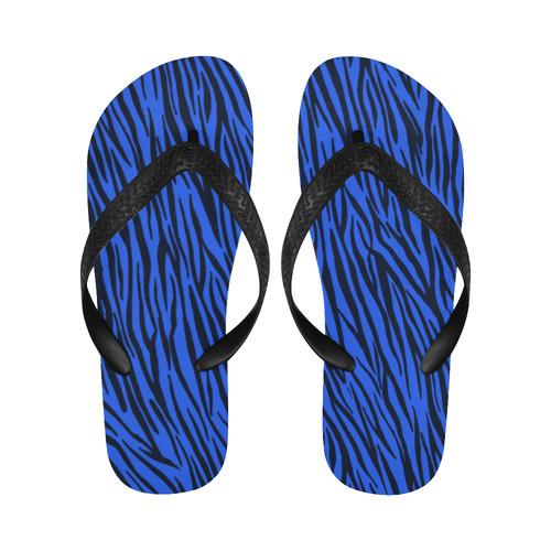 Blue Zebra Stripes Fur Pattern Flip Flops for Men/Women (Model 040)