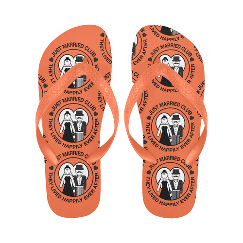 6a0619304c95 Flip Flops Wedding Gift Bride Groom Print Flip Flops Flip Flops for  Men Women (Model 040)