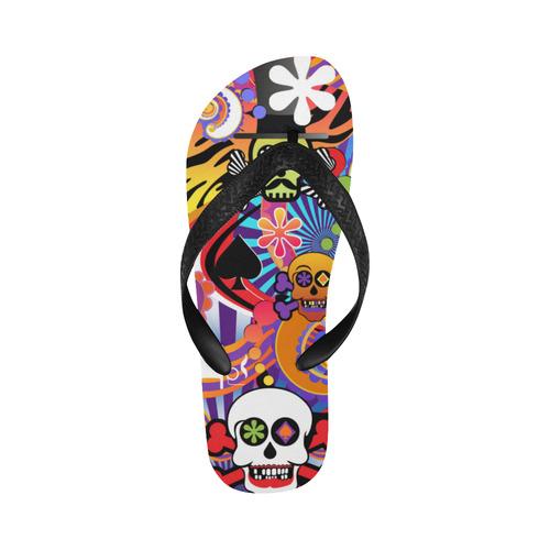 Sugar Print Flip Flops Skull Pop Art Colorful Print Flip Flops for Men/Women (Model 040)