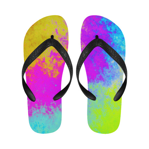 Grunge Radial Gradients Red Yellow Pink Cyan Green Flip Flops for Men/Women (Model 040)