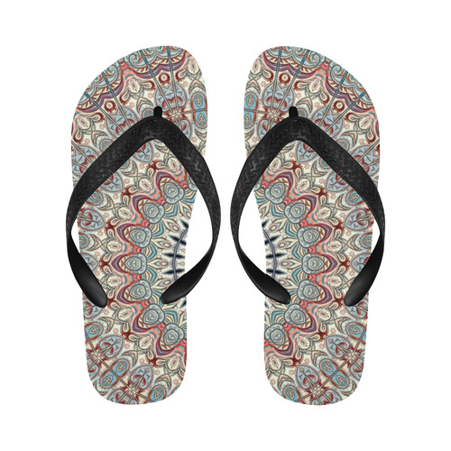 Oriental Watercolor Mandala Soft Blue Red Flip Flops for Men/Women (Model 040)