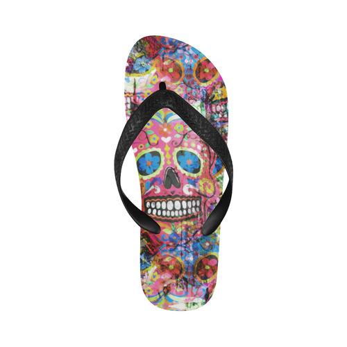 Colorfully Flower Power Skull Grunge Pattern Flip Flops for Men/Women (Model 040)