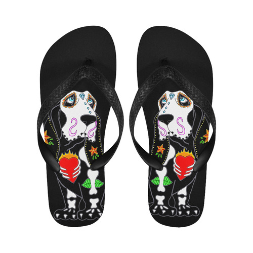 Basset Hound Sugar Skull Flip Flops for Men/Women (Model 040)