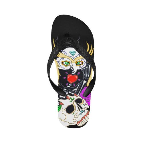 Sugar Skull Owl And Skull Flip Flops for Men/Women (Model 040)