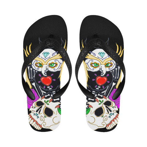 Sugar Skull Owl And Skull Flip Flops for Men/Women (Model 040)