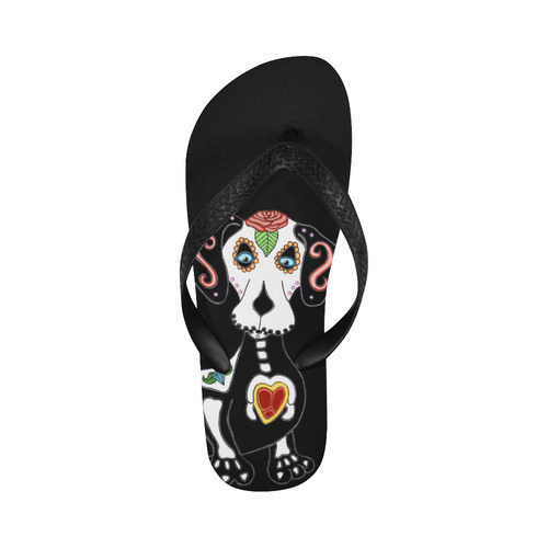 Dachshund Sugar Skull Flip Flops for Men/Women (Model 040)