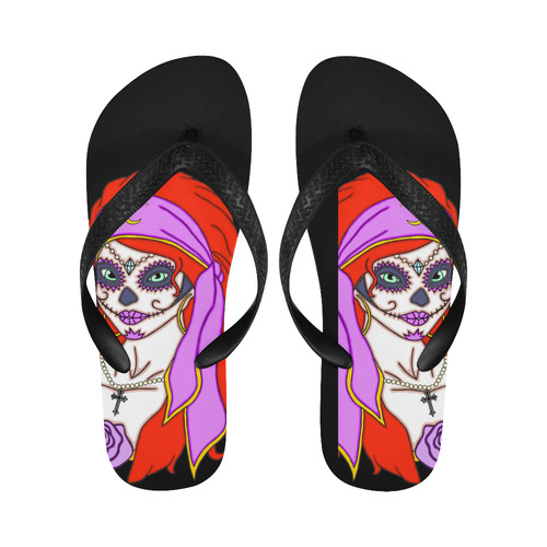 Gypsy Sugar Skull Black Flip Flops for Men/Women (Model 040)