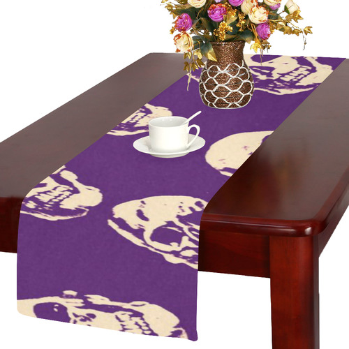 Hot Skulls,purple by JamColors Table Runner 14x72 inch