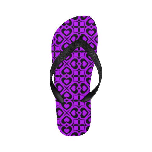 Purple Black Heart Lattice Flip Flops for Men/Women (Model 040)