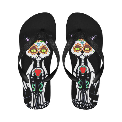 Sugar Skull Cat Flip Flops for Men/Women (Model 040)