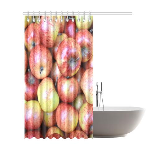 "Autumn Apples Red Green Fruit Shower Curtain 72""x84"""
