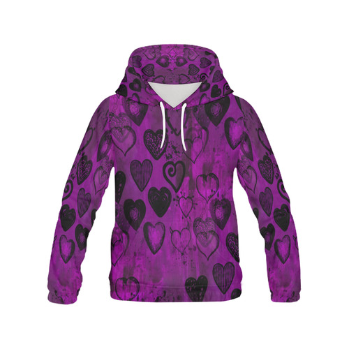 Grunge Purpe Hearts All Over Print Hoodie for Women (USA Size) (Model H13)