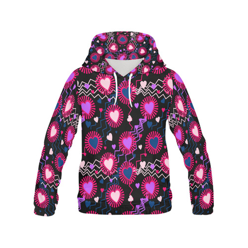 Punk Rock Hearts All Over Print Hoodie for Women (USA Size) (Model H13)