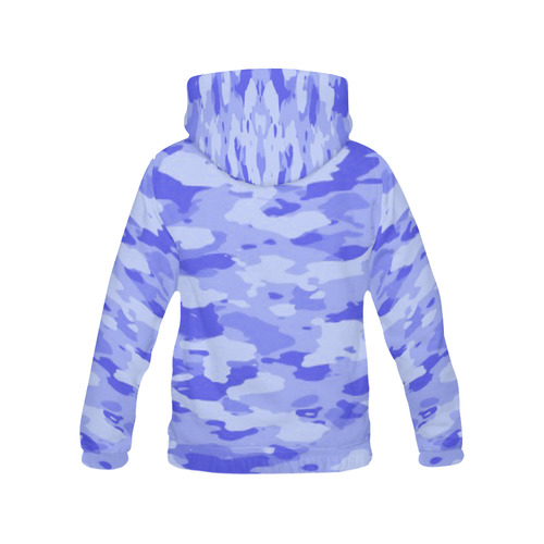 Blue Camo All Over Print Hoodie for Women (USA Size) (Model H13)
