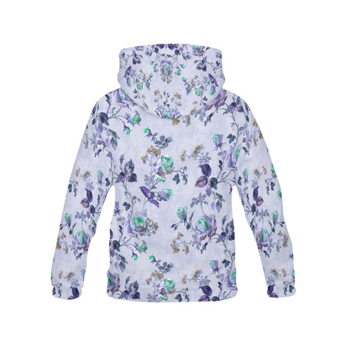 Victorian Vintage Roses Purple Women's All Over Print Hoodie (USA Size) (Model H13)
