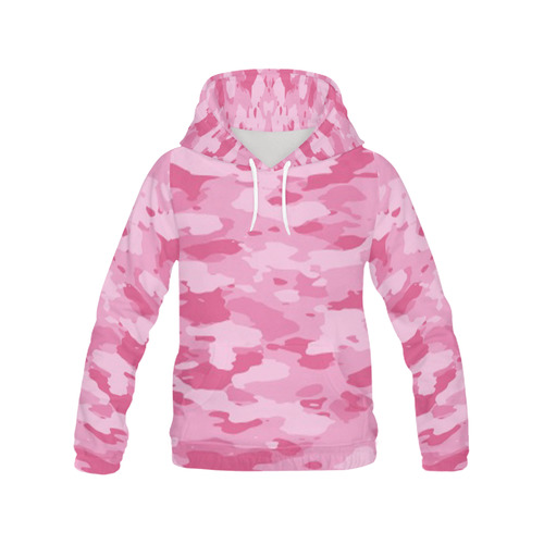Pink Camo All Over Print Hoodie for Women (USA Size) (Model H13)