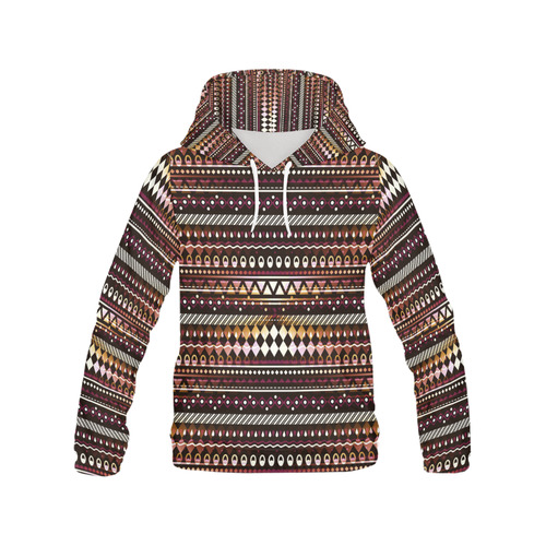 Gold N Maroon Tribal Pattern All Over Print Hoodie for Women (USA Size) (Model H13)