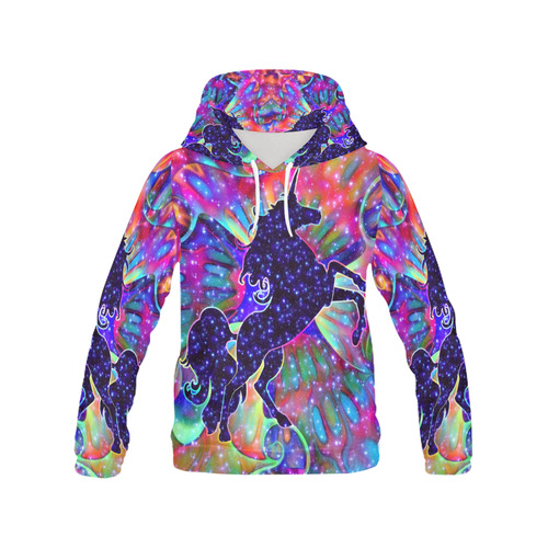 UNICORN OF THE UNIVERSE multicolored All Over Print Hoodie for Women (USA Size) (Model H13)