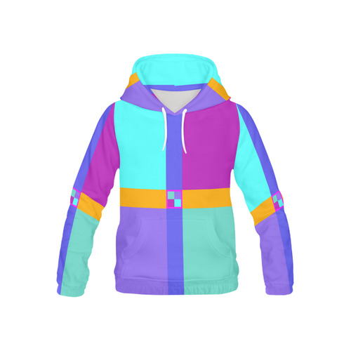 Colored Squares checkered Stripes Cross All Over Print Hoodie for Kid (USA Size) (Model H13)