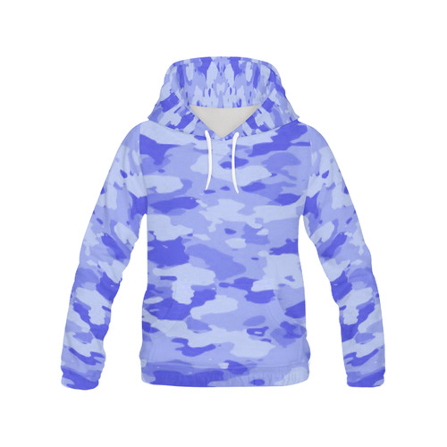 Blue Camo Women's All Over Print Hoodie (USA Size) (Model H13)