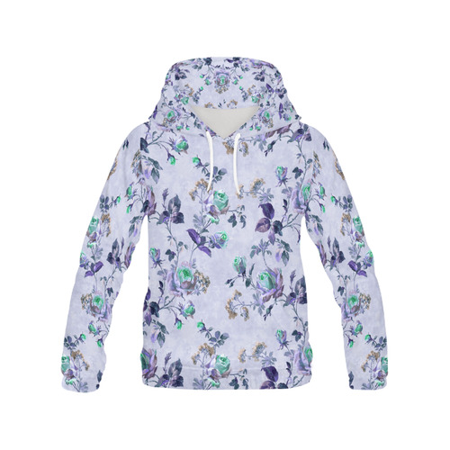 Victorian Vintage Roses Purple All Over Print Hoodie for Women (USA Size) (Model H13)