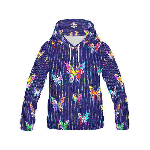 Butterflies On Dotted Lines Pattern All Over Print Hoodie for Women (USA Size) (Model H13)