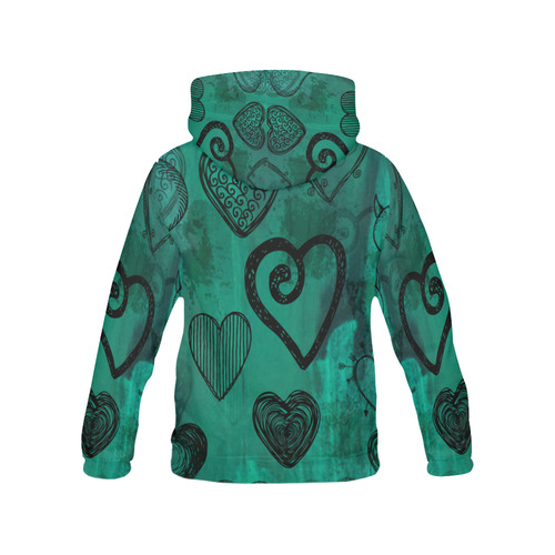 Turquoise Hearts All Over Print Hoodie for Women (USA Size) (Model H13)