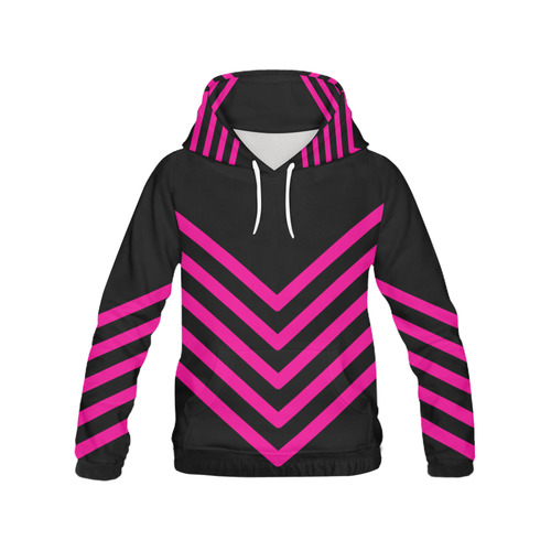 Modern Black Background Chevron Stripes Cut All Over Print Hoodie for Women (USA Size) (Model H13)