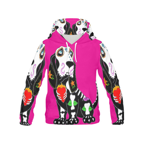 Basset Hound Sugar Skull Pink All Over Print Hoodie for Women (USA Size) (Model H13)